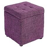 WEWE Lino Tapizado Almacenamiento Otomano Banco Taburete Reposapiés,Cubo Organizador Caja Pouffe Footstool Pies De Madera Asiento De Hojaldre-d 30x30x35cm(12x12x14inch)