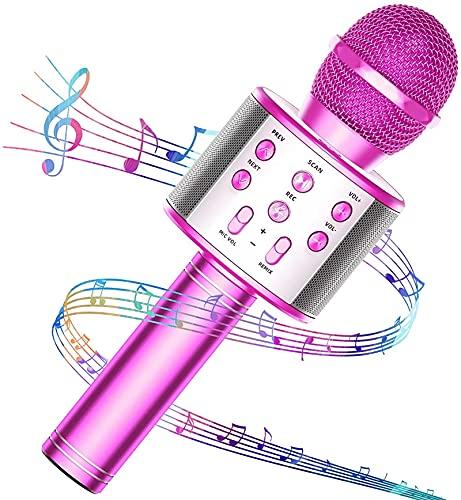 GIMS Micrófono de Karaoke de gimeicos Bluetooth, 3 en 1 Máquina de Karaoke de Mano portátil portátil para niños, micrófono disgustador de Voz para la Fiesta de cumpleaños de la casa de Navidad