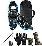 Wxnnx Juego de Zapatos de Nieve Ligeros 5 en 1 de 25 '' Marco de Aluminio con Bastones de Trekking, Guantes de montañismo, Polainas para Las piernas para la Nieve y Bolsa de Transporte