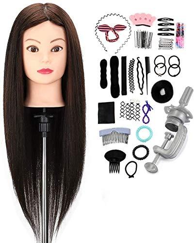 Cabezal de peluquería Neverland 50% Cabeza Maniqui Peluqueria Pelo Natural 22' Cosmetología Maniquí Maniquí Muñecas Cabeza de Muñecas para practicar corte de peinado con abrazadera