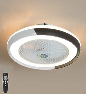 Ventilador De Techo Con Lámpara, Ventilador Eléctrico Invisible Lámpara De Sala LED, Regulable Con Control Remoto Rueda De Guía De Viento 60W Tres Velocidades (Negro)
