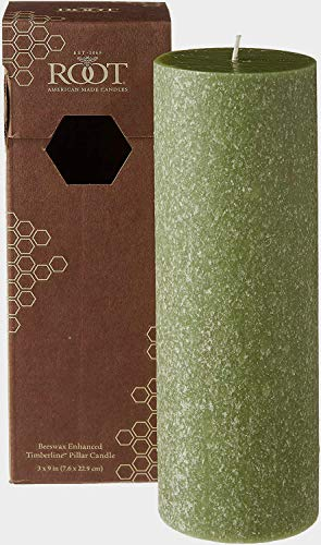 Root Candles Pillar Candle, beeswax, Dark Olive, 3 x 9-Inches