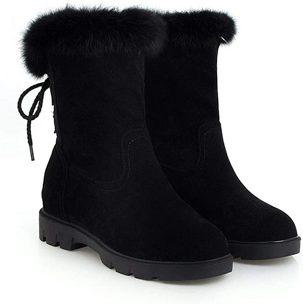 Caddy Wolfclaw Women Suede Back Lace Up Mid Calf Boots Winter Fur Lined Snow Boots Retro Motorcycle Boots Black