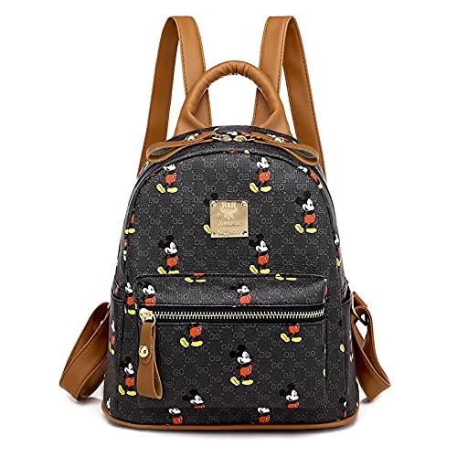 XLHH Mickey Mouse Rucksack Große Kapazität Micky Maus Bunt Handtasche Zipper CartoonTasche Schultertasche Henkeltasche Casual Damen Kinder (Schwarz)