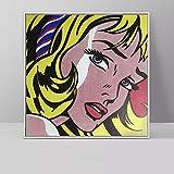 YRZYT Roy Lichtenstein Poster NóRdico Vintage Pared Arte Comic Chicas Poster Pop Arte Lienzo Cuadros Roy Lichtenstein Famosos Pintura Moderno Dormitorio Decoracion Imagen