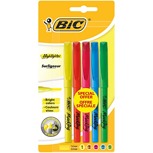BIC Highlighter Marcadores punta media (1,6 mm) - colores Surtidos, Blíster de 5