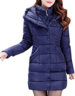M/&S/&W Womens Thickened Down Jacket Fur Hooded Long Cotton-Padded Parka Thicken Coat