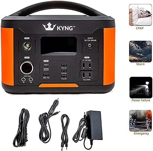 KYNG Portable Power Station 515wh Solar Generator Backup Lithium Battery Pure Sine Wave AC Outlet, 1000w peak, Emergency Power Supply, CPAP, Outdoors, Camping, Portable Generator Rechargeable Inverter