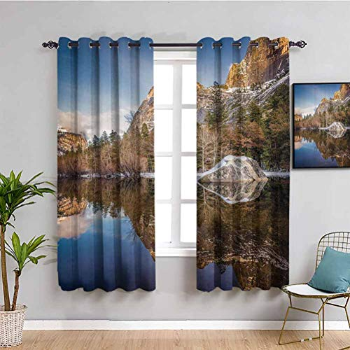 Apartment Decor Soundproof Curtains for Bedroom Yosemite Mirror Lake and Mountain Reflection on Water Sunset Evening View Picture Indoor curtain Navy Brown W54 x L39 Inch