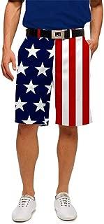 Loudouth Golf - StretchTech Poly - John Daly Fun 4th of July Patriotic Stars & Stripes Men's Short - Knee Length, 11
