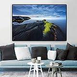 NIMCG Imprimir Ocean Rock Cloud Mural Poster Arte de la Pared Lienzo Pintura Paisaje Sala de Estar Decoración del hogar (Sin Marco) 70x100cm