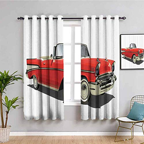 Coches Decor Collection Cortina de ventana de estilo antiguo auténtico de lujo con un techo abierto Past Times Transportation Decor Bring Beauty Red Silver W72 x L72 pulgadas