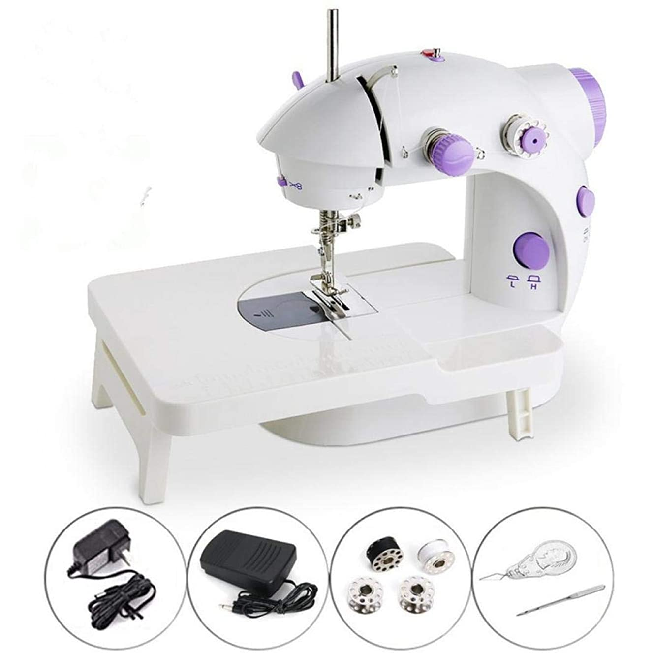 Portable Mini Sewing Machine,SCHANIN Mini Portable Electric Sewing Machine with Lamp and Thread Cutter, High Low Speeds, Battery or Adapter Power Supplies Purple