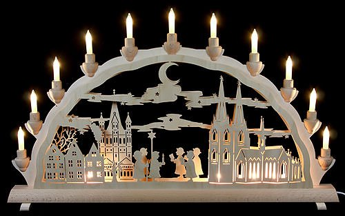 Authentic German Erzgebirge Handcraft 3D - Double Arch - Cologne Cathedral with carolers - 68x35cm / 27.8x13.8inch - Schlick & Türk