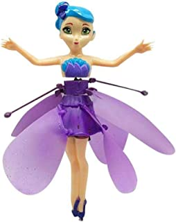 whc0815 Flying Fairy Girls Toy Doll Pink Magical Wings, Infrared Induction Control Rc Helicopter Kids Teens Toys Ballet Gi...