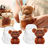 Whaline 3D Teddy Bear Mold, Silicone Animal Mold, Soap Candle Mold, Ice Cube for Coffee, Milk, Tea, Candy Gummy Fondant, Cake Baking, Cupcake Topper Decoration (2 Sizes)