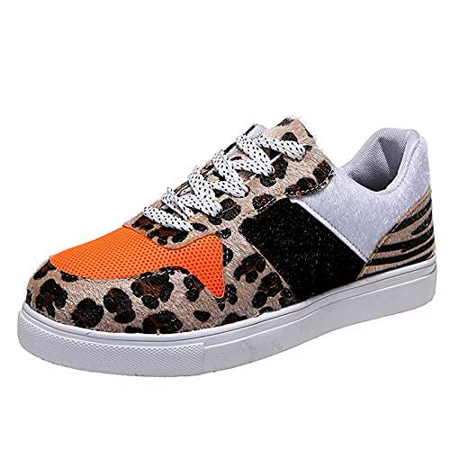 CYGGA Zapatillas de ocio planas con estampado de leopardo, para mujer, para tiempo libre, parte delantera con encaje y parte inferior plana, marrón, 36