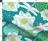 Spoonflower Fabric - Day Lake Garabeo Blue Home Fashion Decor Botanical Dragonflies Printed on Fleece Fabric by The Yard - Sewing Blankets Loungewear and No-Sew Projects