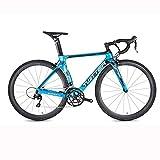 Bici da Strada, Manubrio da Corsa A 16 velocità in Fibra di Carbonio Sniper2.0 Biciclette per Uomo E Donna, Bicicletta con Freno A Doppia V 700C,Blu,52 cm