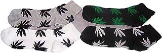 Marijuana Weed Cannabis Men's Women's Low Cut Anklet Socks 4 Pairs (EMaHs103-4)