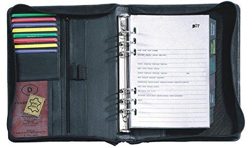 Terminplansystem Zeitplaner Terminplaner Ringbuchkalender DIN A5 Leder Schwarz Mit Reißverschluss