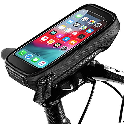 ENOENO Porta Cellulare Moto Impermeabile Universale Supporto Bici Smartphone con Sensibile Touchscreen e Copertura Antipioggia Fino a 6,8' (Nero)