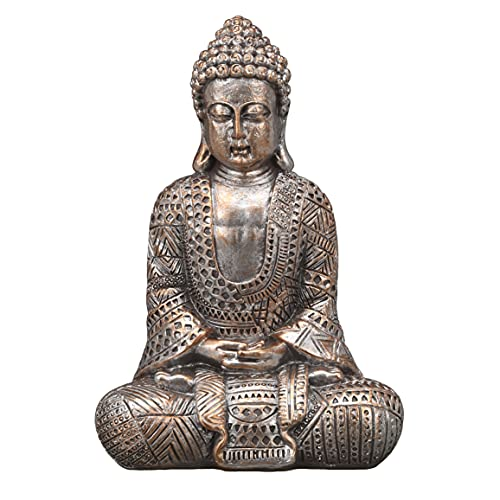 TERESA'S COLLECTIONS Small Meditating Buddha Statues for Home Decor, Metallic Buddha Zen Decor Serene Resin Decorative Sculpture, Antique Collectible Yoga Figurines for Indoor Tray, 7.4'