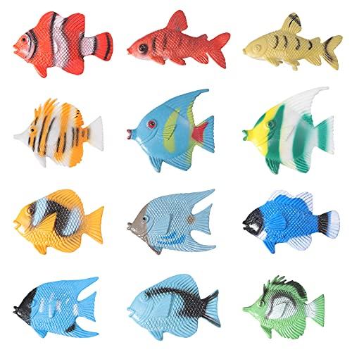 TOYMYTOY 12 stücke Kunststoff Mini Fisch Spielzeug Simulation Tropische Fische Abbildung Modell Vorschule Kinder Lernspielzeug