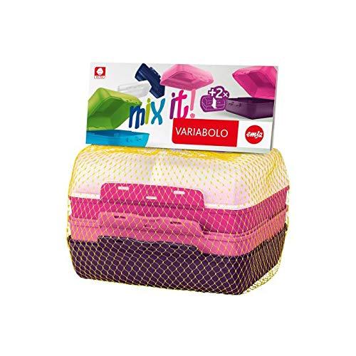 emsa Brotdose VARIABOLO Clipbox Set Girls, 4-teilig, farbig, Sie erhalten 1 Packung, Packungsinhalt: 4 teilig