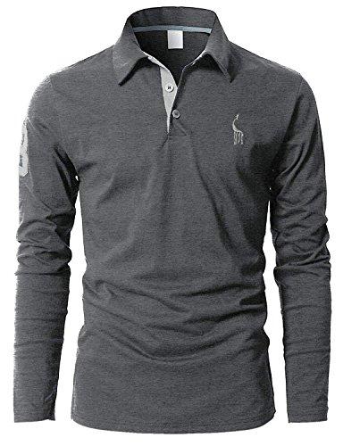 STTLZMC Polo Manica Lunga da Uomo Tennis T-Shirt Gentiluomo Ricamo Tops (L, Grigio)