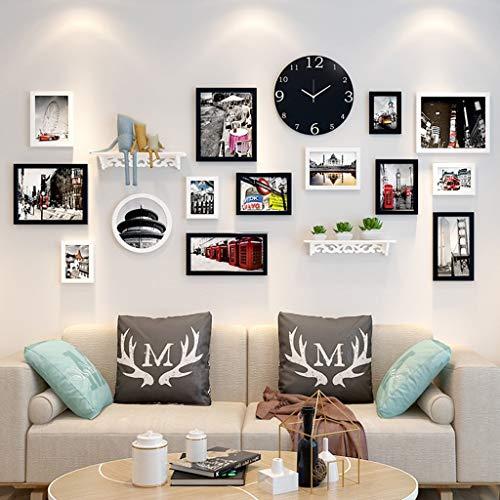 JY Bilderrahmen-Set aus Holz zur Wandmontage - Home Mall - moderne Bilderrahmenwand mit Uhr + kombinierten Bilderrahmen + für das Wohnzimmer im Flur + 14er-Set, Multi-Bilderrahmen-S