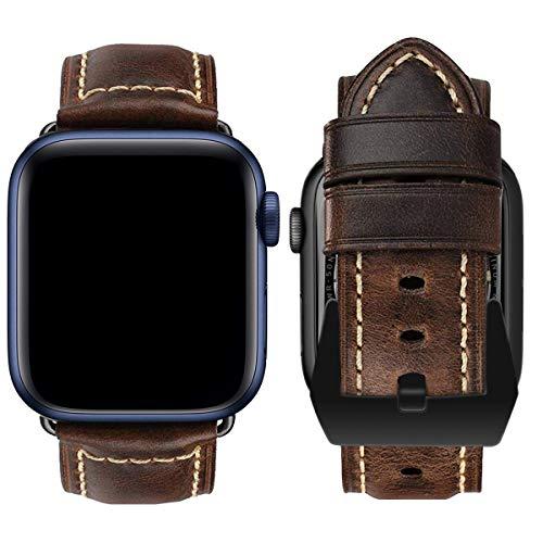 MroTech Compatible con iWatch Correa 42mm 44mm Watch Band Pulseras de Repuesto Piel Genuino Reemplazo para Series 6/SE 5 4 3 2 1 Replacement Banda de Reloj con Hebilla Negra, 42/44 mm Antiguo