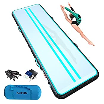 ALIFUN Tumbling Mat 10ft 13ft 16ft 20ft Tumble Track Thick 4/8 Inches Gymnastics Tumbling Mat Inflatable Training Mat with Electric Air Pump