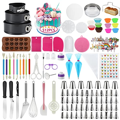 Cake Decorating Supplies, 512 Pcs Docgrit Cake Decorating Kit with Non-Slip Cake Turntable, Cake Pans, Cake Decorating Tools, Muffin Cups, Baking Supplies and Baking Set for Beginners and Cake Lovers
