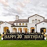 30 Geburtstag Dekoration,30 Geburtstag Mann und Frau,Extra Lange Geburtstag Banner,Deko 30. Geburtstag Frauen,Geburtstagsdeko 30, Stoff Zeichen Poster Hintergrund für Schwarz Gold