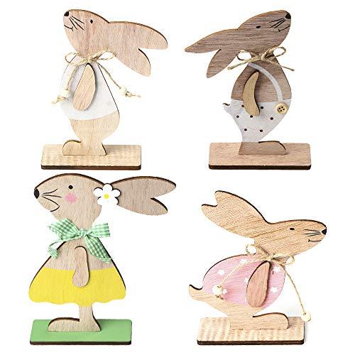 æ— 4 decorazioni pasquali, coniglietto in legno, decorazione da scrivania, coniglietto in legno, decorazione pasquale, ornamento fai da te animale fai da te