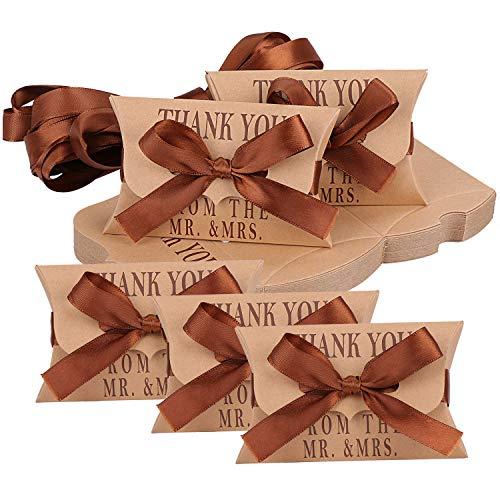 TsunNee Caja de regalo de papel kraft, cajas de regalo de almohada, caja de regalo de almohada de agradecimiento, cajas de regalo de papel vintage, 50 unidades