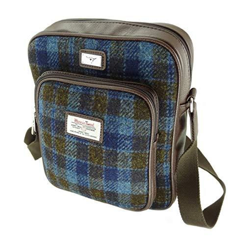Mens Harris Tweed Messenger Bag met verstelbare riem Tay LB1216