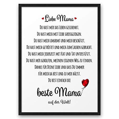 Beste Mama ABOUKI Kunstdruck Poster Bild Geschenk-Idee Mutter Muttertag Geburtstag Weihnachten mit schwarzem Holz-Rahmen A4