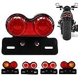 Chemini 40W 40-LED Luz trasera de la motocicleta Luces de freno, intermitentes y luces de conducción integradas Con soporte de luz de matrícula(Lente roja)