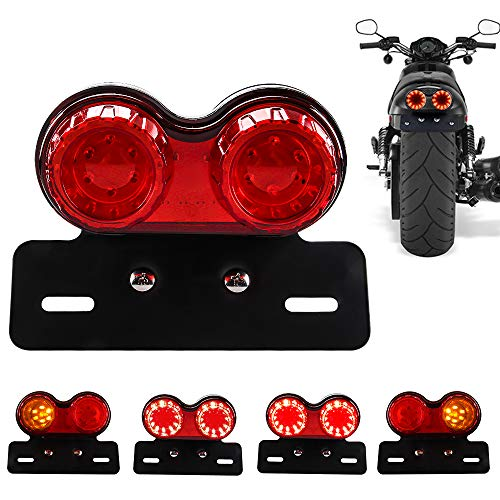 Chemini 40W 40-LED Motorcycle Tail Light Integrated Brake Light Turn Signal&Driving Light With License Plate Bracket for Harley (Red Lens)