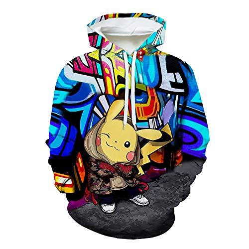 SZXZS Pullover Hooded Unisexe Sweat à Capuche Pokemon Homme Femme Impression 3D Anime Japonais T-Shirt Pikachu Sweatshirt décontracté Jeunesse Uniforme de baseball-1101_XXS