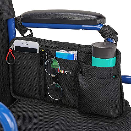 Wheelchair Side Bag, Armrest Pouch Bag with Cup Pocket, 5 Pockets Storage Organizer Ideal Gift for Mother's Day, for Walker, Rollator, Electric Scooter Wheelchairs, Ideal Gift for Father's Day