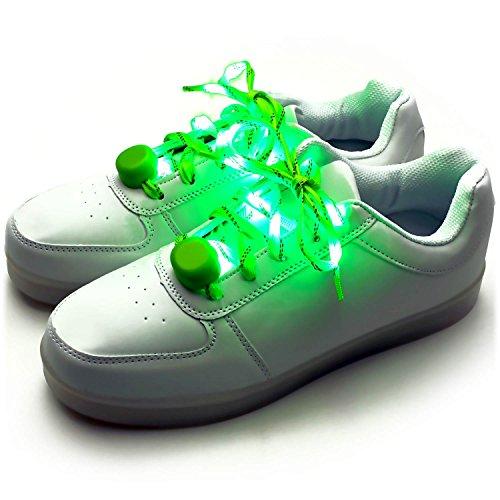 Ucult Leucht-Schnürsenkel Blinkende LED Nylon Schnürsenkel für Party Open Air Sneaker (Grün)