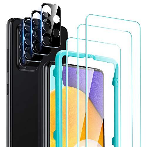 ESR 6er Pack Display und Kamera Schutzfolien kompatibel mit Samsung Galaxy A52 Panzerglas 5G(6,5 Zoll) 3 Hartglas Displayschutzfolien 3 kratzresistente Kameraschutzfolien jeweils mit Ausrichtrahmen