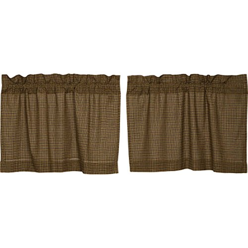 VHC Brands Tea Cabin Green Plaid Tier Set of 2 L24xW36 Country Rustic Curtains, Moss Green