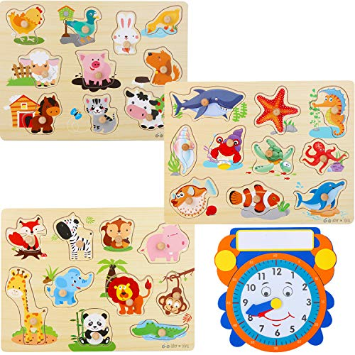 Wooden Peg Puzzles for Toddlers –...