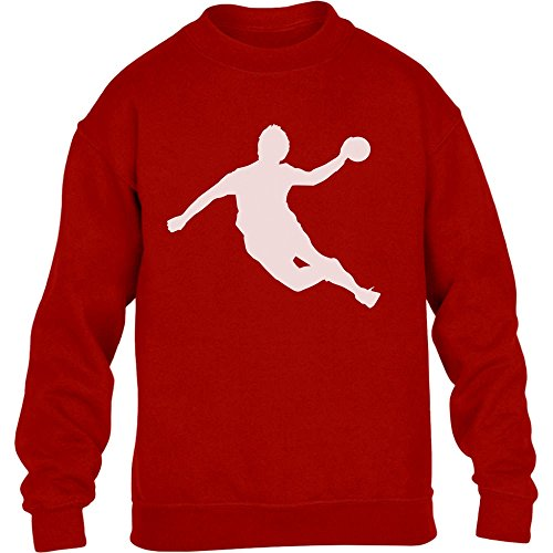 Handball Spieler in Action Silhuetten Fan Geschenk Kinder Pullover Sweatshirt L 134/146 Rot