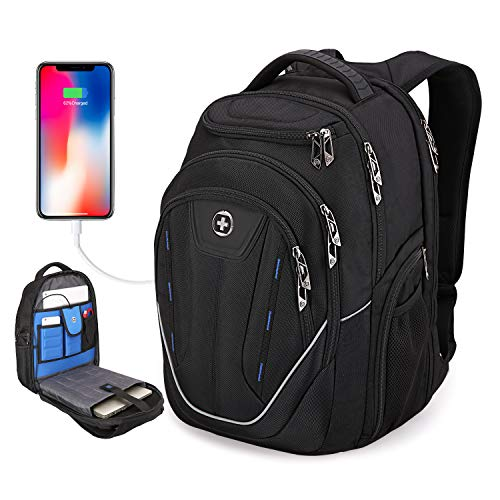 "SwissDigital Terabyte TSA-Friendly Water-Resistant Large Backpack, Business Laptop Backpack for Men with USB Charging Port/RFID Protection Big School Bookbag Fits up to 15.6"" Travel Laptop Backpack"