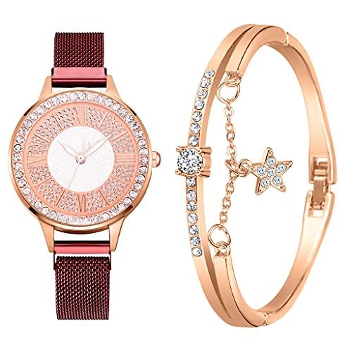 2pcs Set Luxury Women Watches Magnetic Rhinestone Reloj Femenino Reloj de Pulsera de Cuarzo Moda Reloj de Pulsera (Color : Red Set)